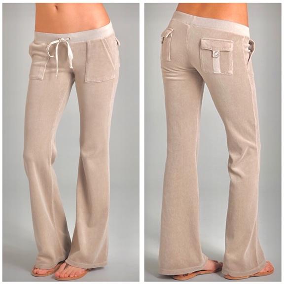Juicy Couture Pants Jumpsuits Velour Flare Snap Pocket Tan Pants Poshmark
